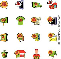 Advertisement set icons set cartoon