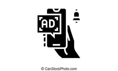 advertisement signal phone animated glyph icon. advertisement signal phone sign. isolated on white background