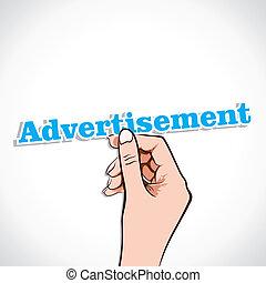 Advertisement word in hand