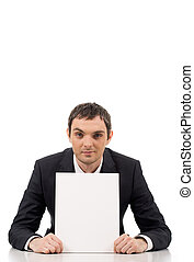 Advertiser - Image of confident businessman showing blank ...