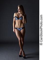 advertises, 속옷, 유행, 심상, 성적 사랑의, 모델