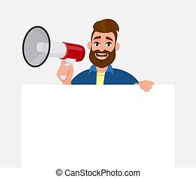 advertises, poster, blad, leeg, jouw, luidspreker, &, inleiding, product., concept., jonge, kadootjes, vasthouden, board., witte , megafoon, showing/displaying, lege, product, man, aankondiging, papier, of