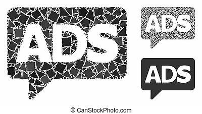advertisiment, pezzi, irregolare, messaggio, icona, ...
