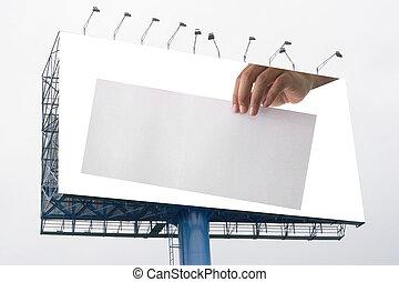 advertising:, 拿紙張, 空, 手, 廣告欄, 大, 白色