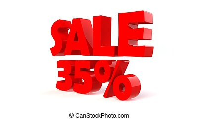 Advertising 35% sale discount sign. 3d render illustration.
