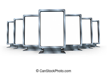 Advertising and marketting campaign with multiple blank vertical billboards made of shiny metal in different angles representing a sales display for a ad program for selling goods and servisces for a business .
