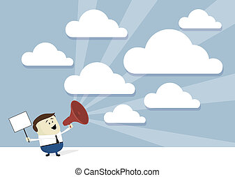 advertice businessman cartoon advertising with megaphone and signboard, empty clouds for copy space, flat design