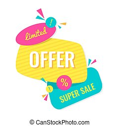 Advertising banner. Limited offer. Super sale. Colorful...