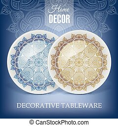 Advertising banner with decorative tableware