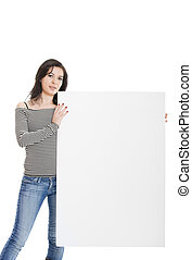 Advertising - Beautiful young women holding a blank notecard...