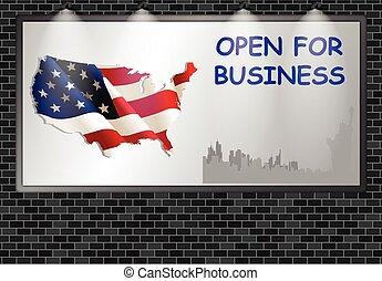 Advertising billboard UK open for business