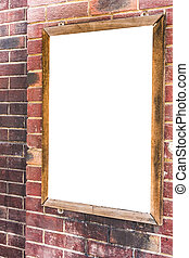 Advertising blank sign on brick wall