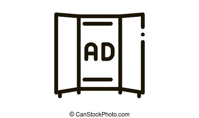 advertising booklet Icon Animation. black advertising booklet animated icon on white background