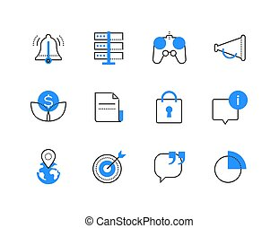 Advertising business and technology color icons set