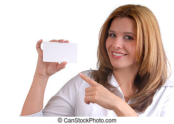 Advertising Businesswoman - Attractive Blond Young Woman...