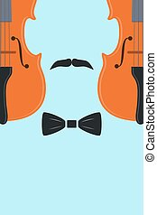 Advertising card with violin in human form with mustache and...