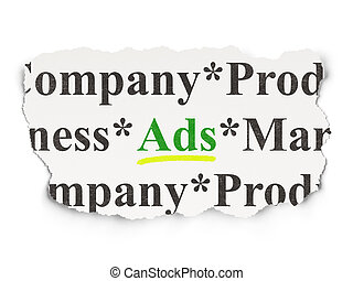 Advertising concept: Ads on Paper background - Advertising...