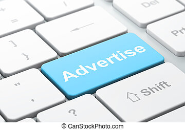 Advertising concept: Advertise on computer keyboard background