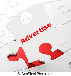 Advertising concept: Advertise on puzzle background -...