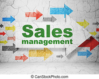 Advertising concept: arrow with Sales Management on grunge wall background