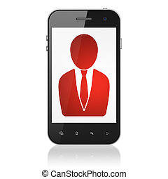 Advertising concept: Business Man on smartphone -...