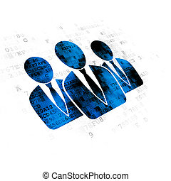 Advertising concept: Business People on Digital background