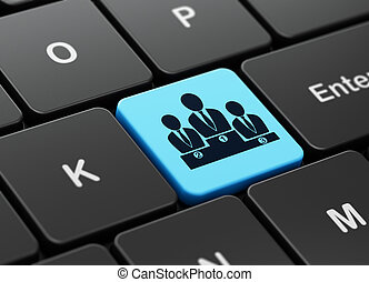 Advertising concept: Business Team on computer keyboard background