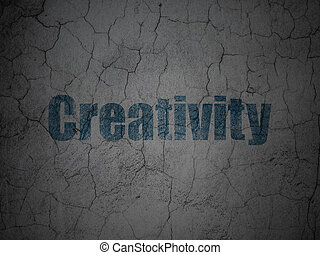 Advertising concept: Creativity on grunge wall background