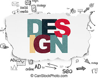 Advertising concept: Design on Torn Paper background