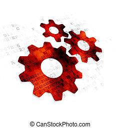 Advertising concept: Gears on Digital background