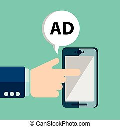 Advertising concept, hand holding smartphone with word Ads on display. Generic mobile smart phone in hand