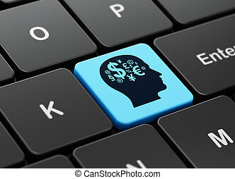 Advertising concept: Head With Finance Symbol on computer keyboard background