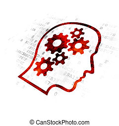 Advertising concept: Head With Gears on Digital background