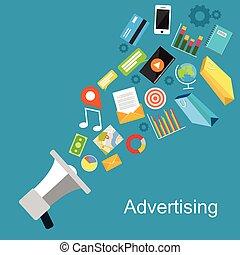 Advertising concept illustration. Digital media