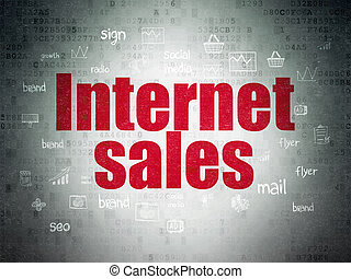 Advertising concept: Internet Sales on Digital Data Paper background