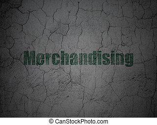 Advertising concept: Merchandising on grunge wall background