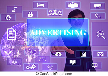 ADVERTISING  concept  presented by  businessman touching on  virtual  screen ,image element furnished by NASA