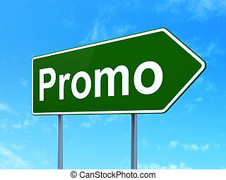 Advertising concept: Promo on road sign background