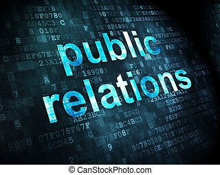 Advertising concept: pixelated words Public Relations on digital background, 3d render