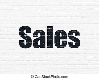 Advertising concept: Sales on wall background