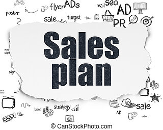 Advertising concept: Sales Plan on Torn Paper background