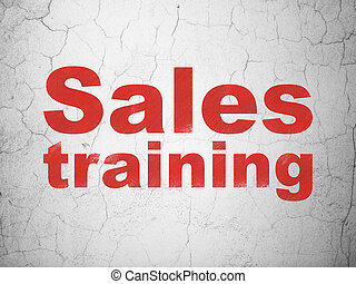 Advertising concept: Sales Training on wall background
