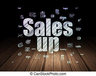 Advertising concept: Sales Up in grunge dark room