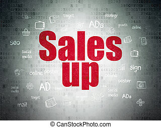 Advertising concept: Sales Up on Digital Data Paper background