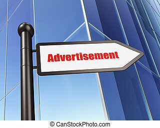 Advertising concept: sign Advertisement on Building background, 3d render