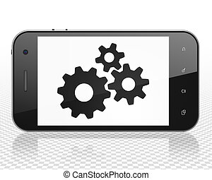Advertising concept: Smartphone with Gears on display