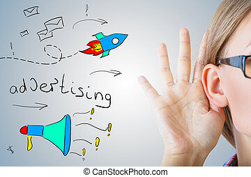 Advertising concept - Woman with hand at ear and creative...