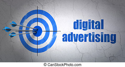Advertising concept: target and Digital Advertising on wall background