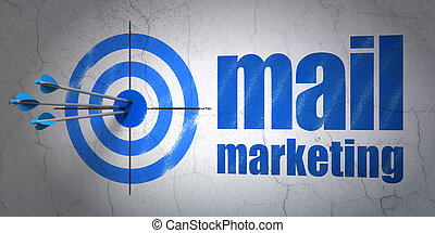 Advertising concept: target and Mail Marketing on wall background