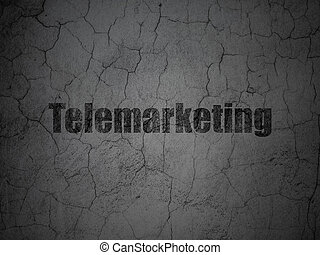 Advertising concept: Telemarketing on grunge wall background
